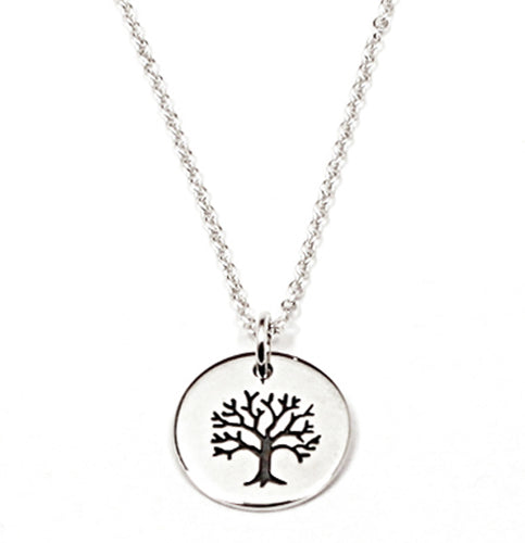 Sterling Silver Tree of Life Disk Necklace