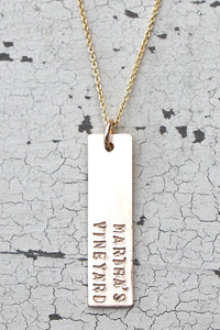 Martha's Vineyard Vertical Bar Gold Necklace