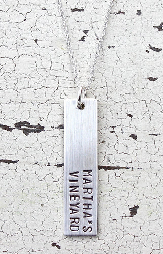 Martha's Vineyard Vertical Bar Sterling Silver Necklace