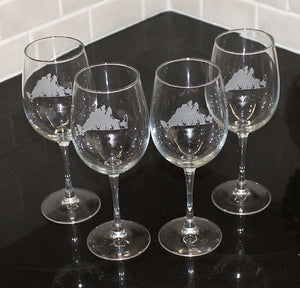 Martha's Vineyard Etched Wine Glass Set of 4