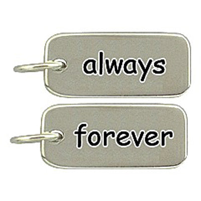 Sterling Silver Always/Forever Word Tag Charm