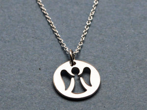 Sterling Silver Angel Disc Necklace