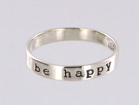 Sterling Silver Be Happy Ring
