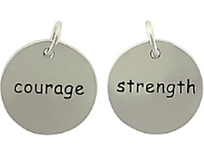 Sterling Silver Strength/Courage Round Word Charm