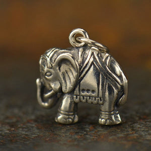Sterling Silver Ornate Elephant Charm