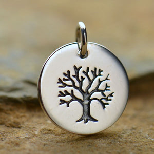 Sterling Silver Tree of Life Disk Charm