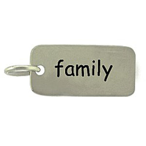 Sterling Silver Family Word Tag Charm