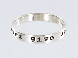 Sterling Silver Never Give Up Ring