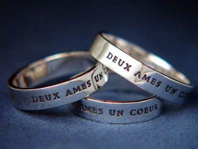 Sterling Silver Two Souls One Heart in French Poesy Ring