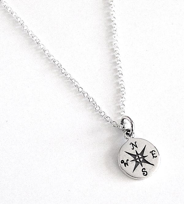 Sterling Silver Compass Necklace