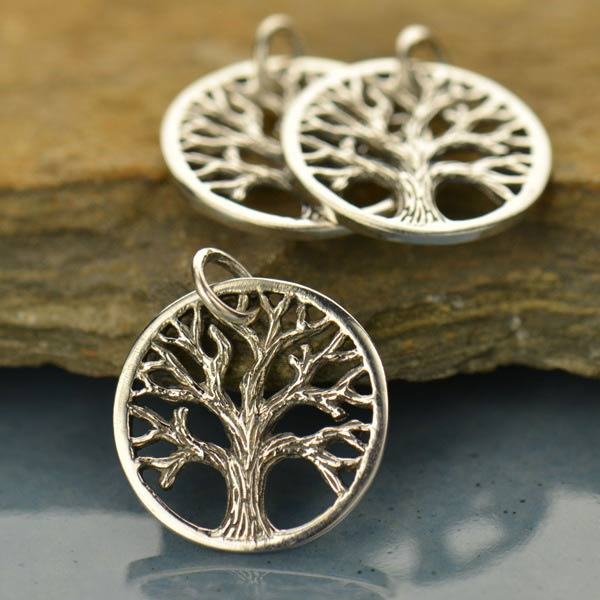 Sterling Silver Textured Tree of Life Charm