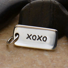 Load image into Gallery viewer, Sterling Silver xoxo Word Tag Charm