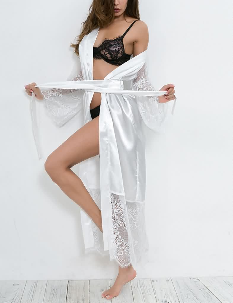 [CLEARANCE] Lace Satin Long Sleeve Robe