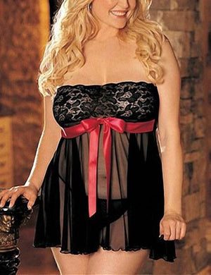 Plus Size Strapless Mesh Dress & Thong Set