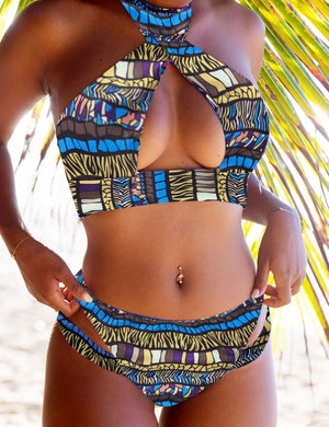 [CLEARANCE] Ethnic Print Halter Striped Cutout Bikini