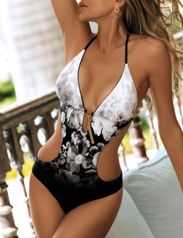 [CLEARANCE] Floral Tassel Cutout Backless Swimsuit