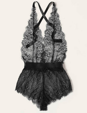 [CLEARANCE] Halter Bowknot Lace Backless Bodysuit