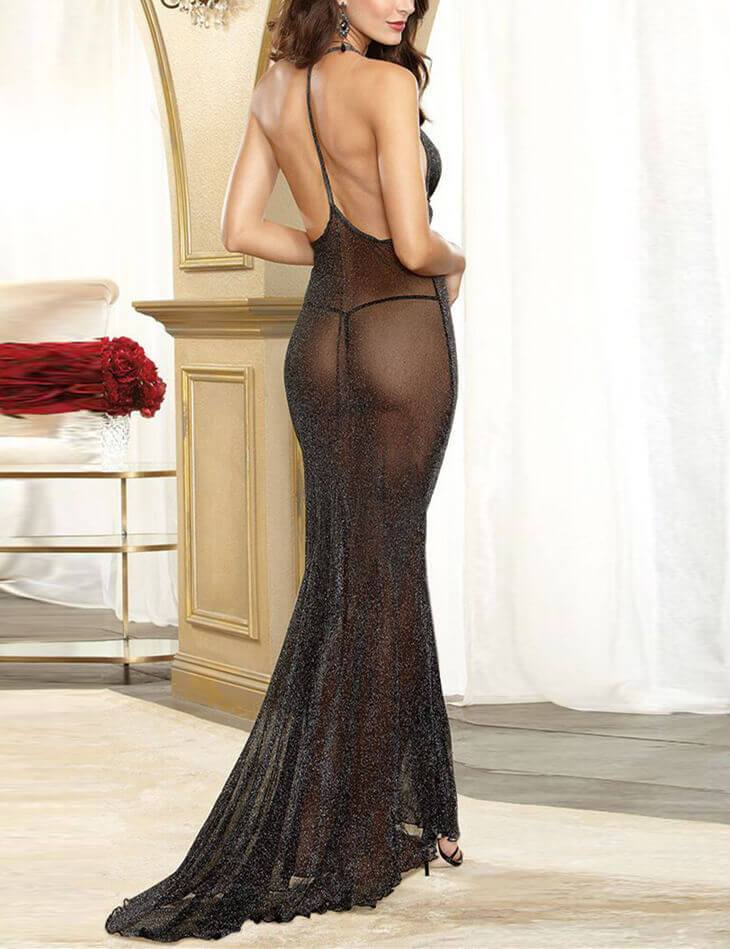 Solid Deep V Babydoll Long Lingerie Dress