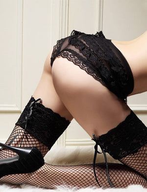 Patchwork Sheer Thigh High Fishnet Stockings