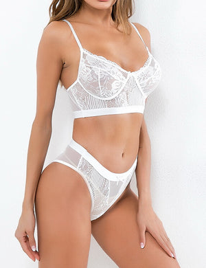 Floral Lace Bralette & Thong Set