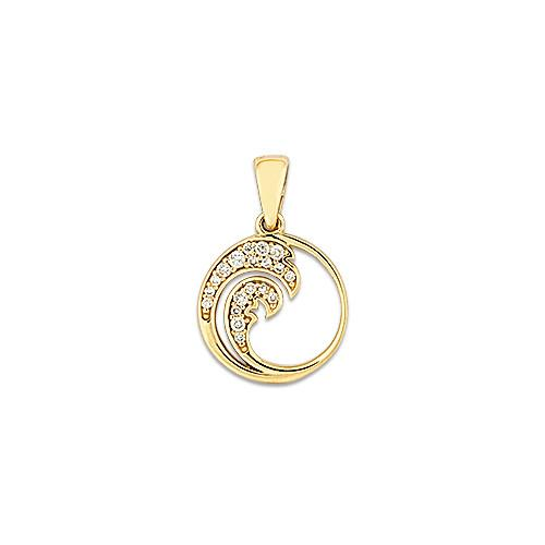 "12mm Wave ""Nalu"" Pendant with Diamonds"