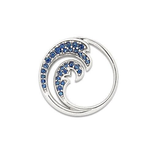 "18mm Wave ""Nalu"" Pendant with Blue Sapphires"