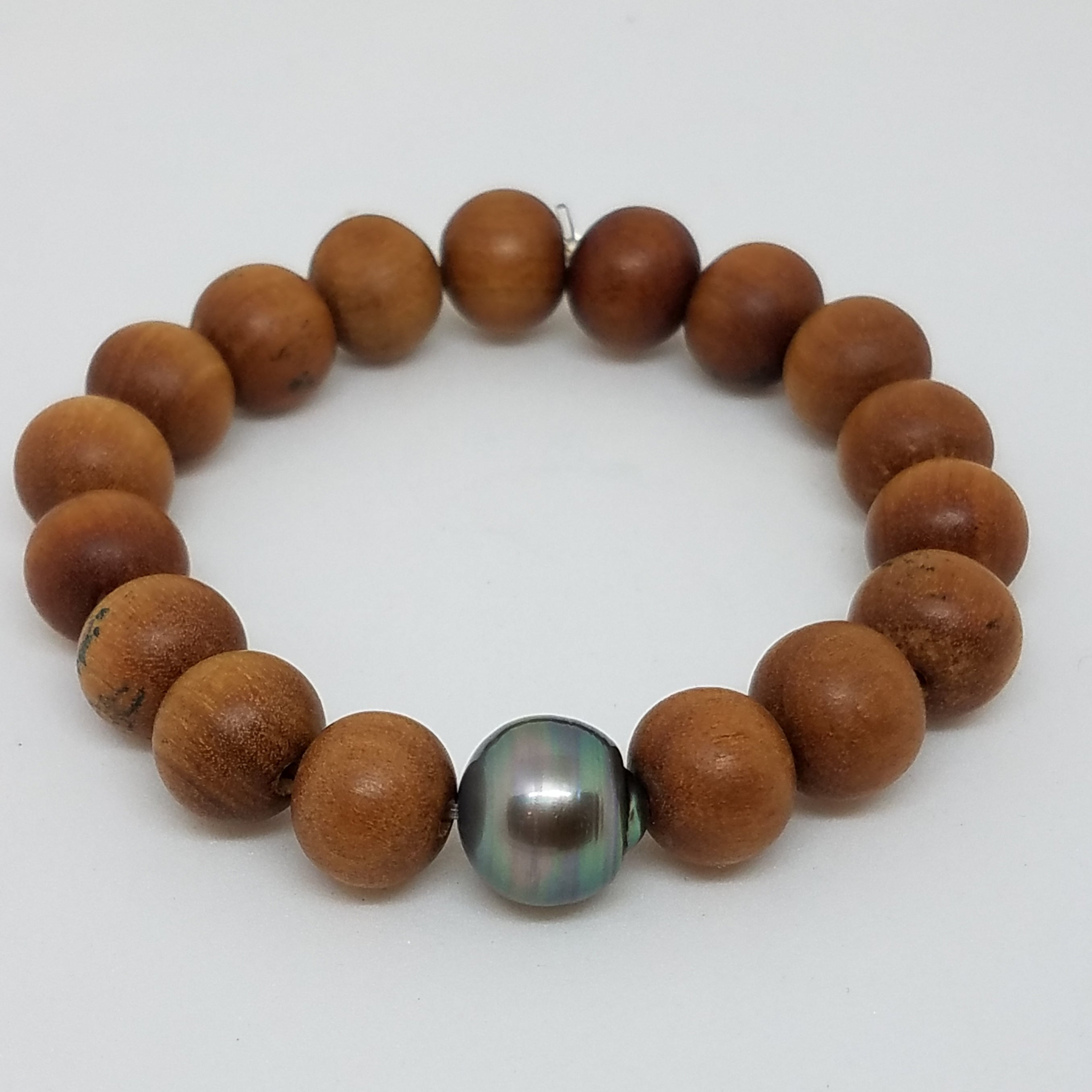 Single Tahitian Pearl on Sandalwood Bracelet