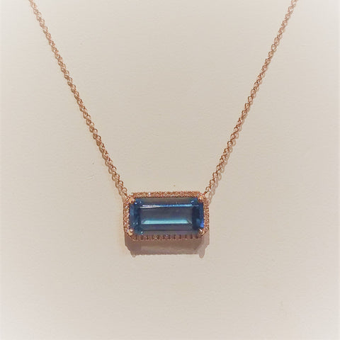 London Blue Topaz Bar Necklace