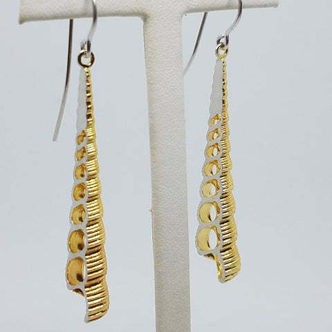 Spiral Shell Two Tone Earrings