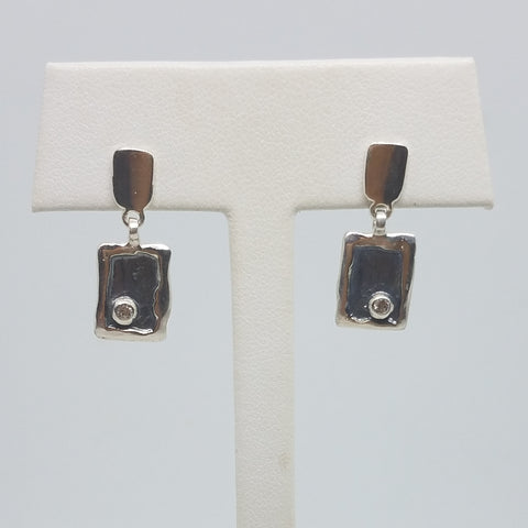 Sterling Silver White Sapphire Movement Earrings