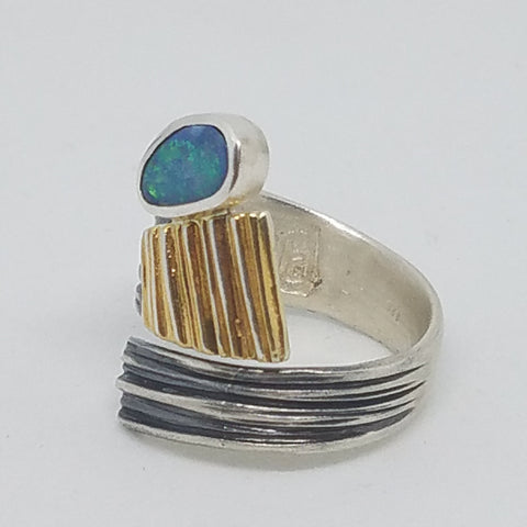 Three Tone Opal Doublet Wrap Ring