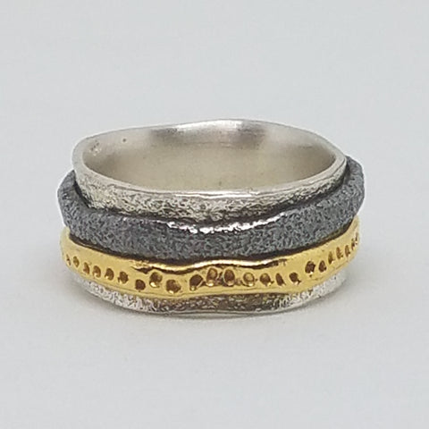 Three Tone Movement Ring