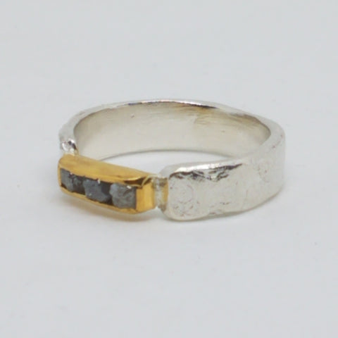 Two Tone Rough Diamond Bar Ring