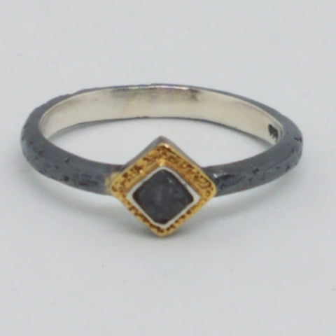 Oxidized Silver Two Tone Rough Diamond Ring
