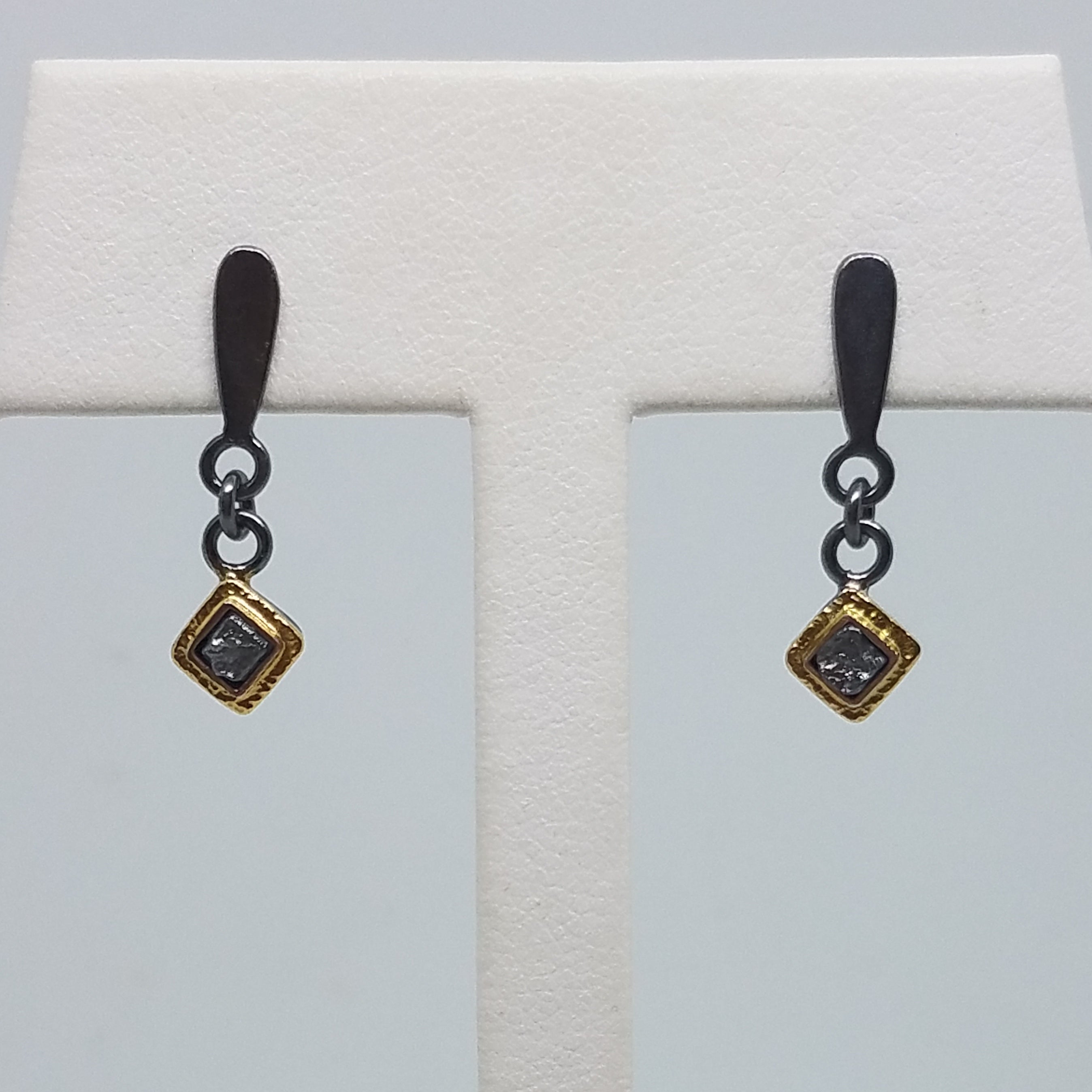 Single Rough Uncut Diamond Dangle Earrings