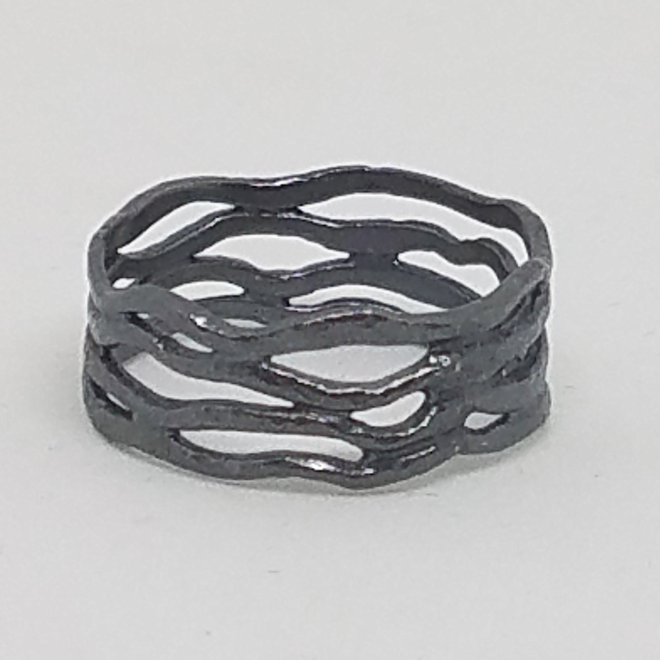 Oxidized Silver Ocean Waves Band