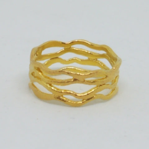 Fine Gold Plated Silver Ocean Waves Band