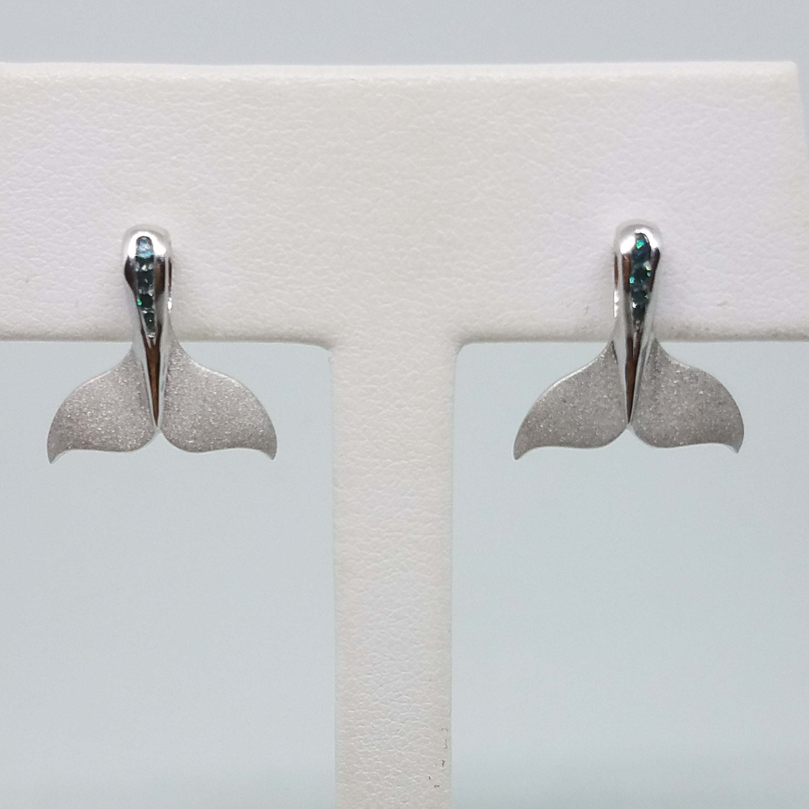 White Gold Whale Tail Earrings with Blue Diamonds