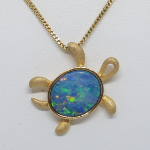 Yellow Gold Opal Turtle Pendant