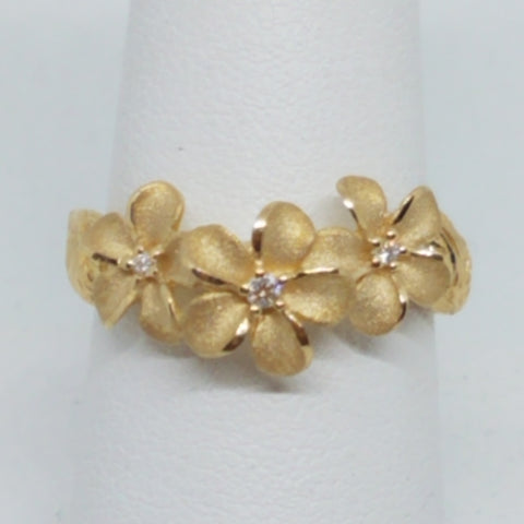 Gold Plumeria with Leaves Ring