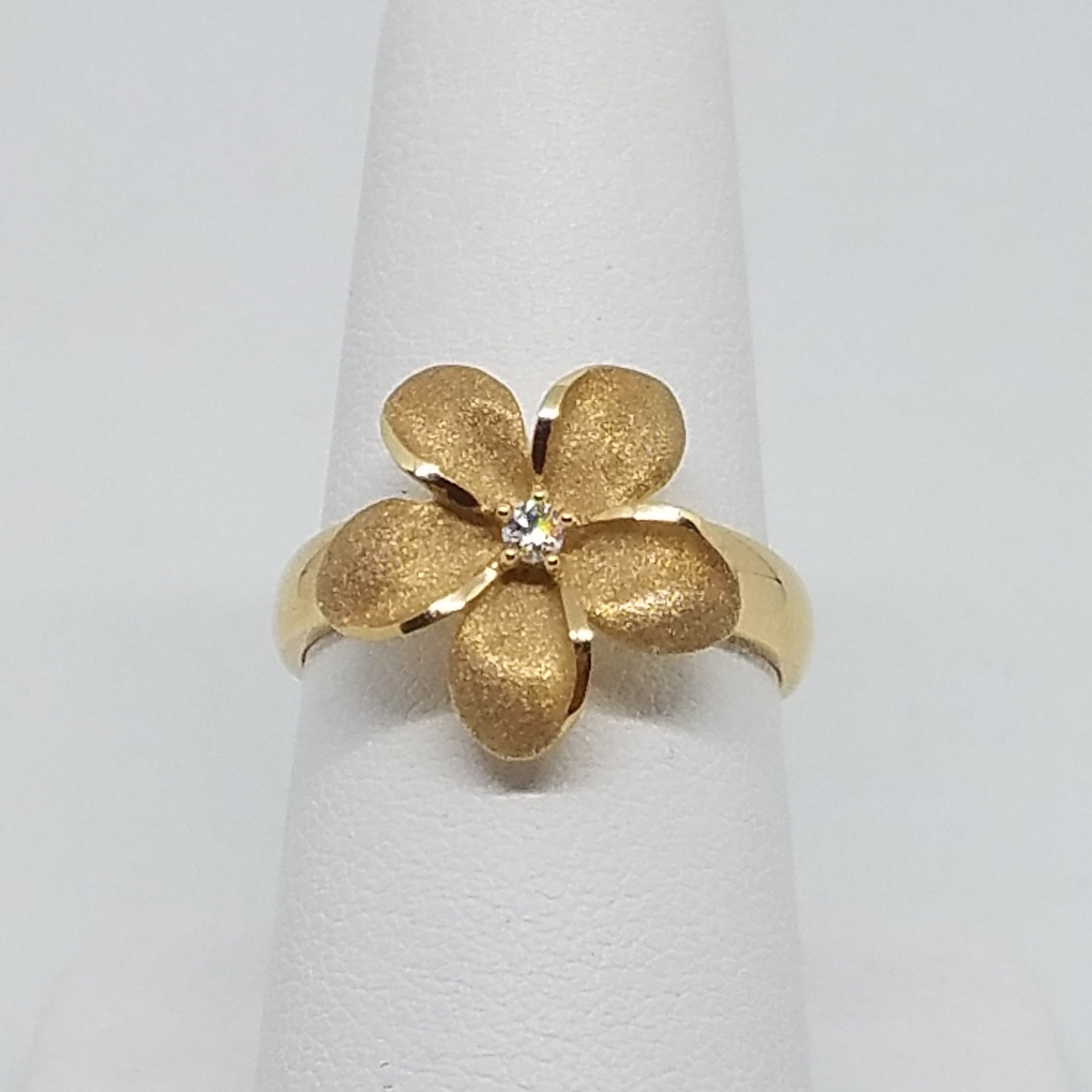 Yellow Gold Plumeria Flower Ring