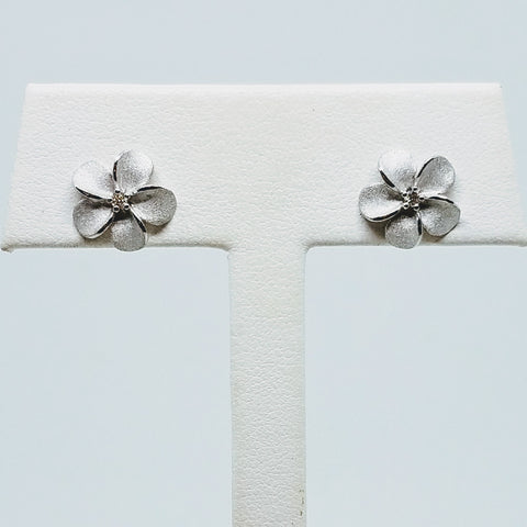 Plumeria Stud Earrings with Diamonds