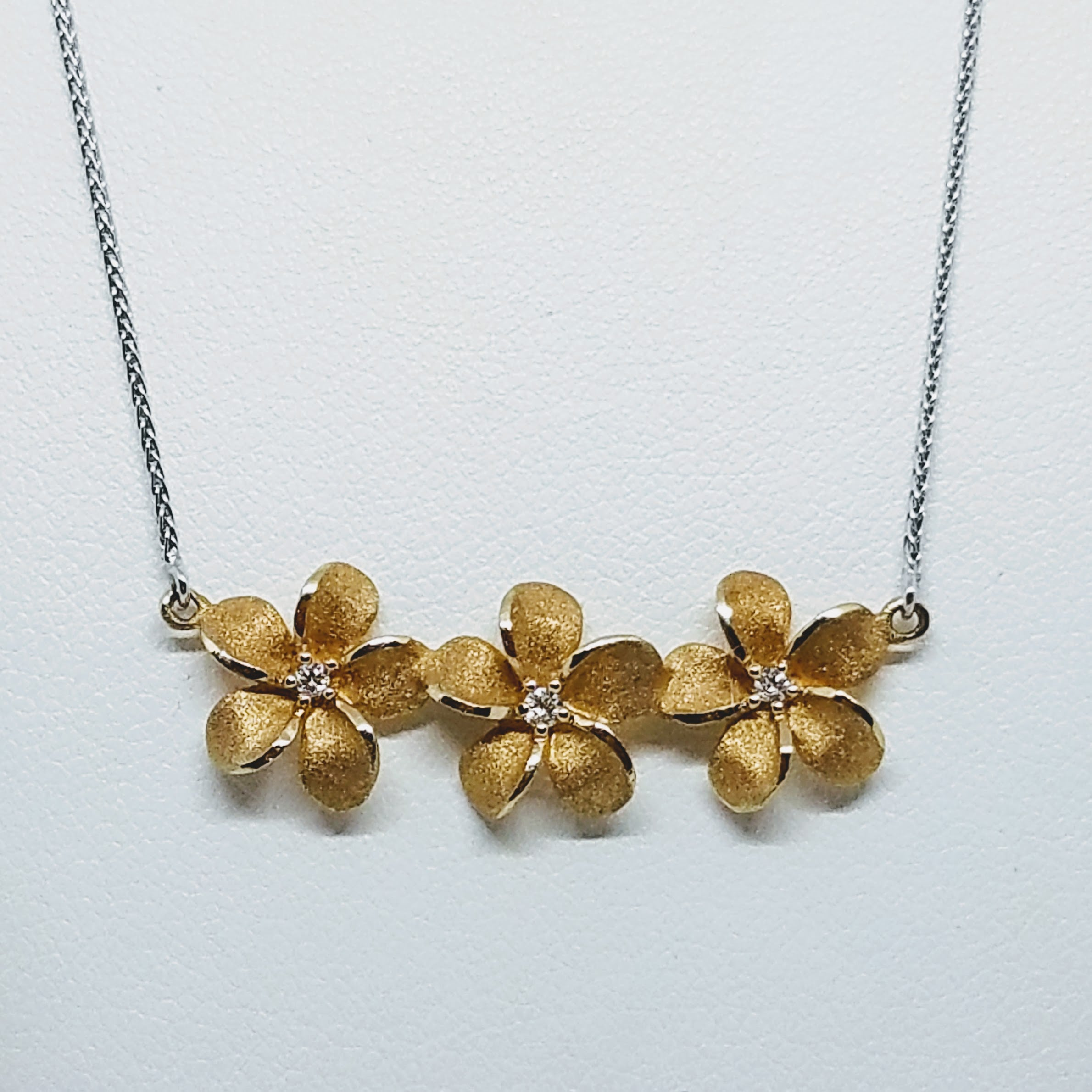 Three Plumeria Necklace