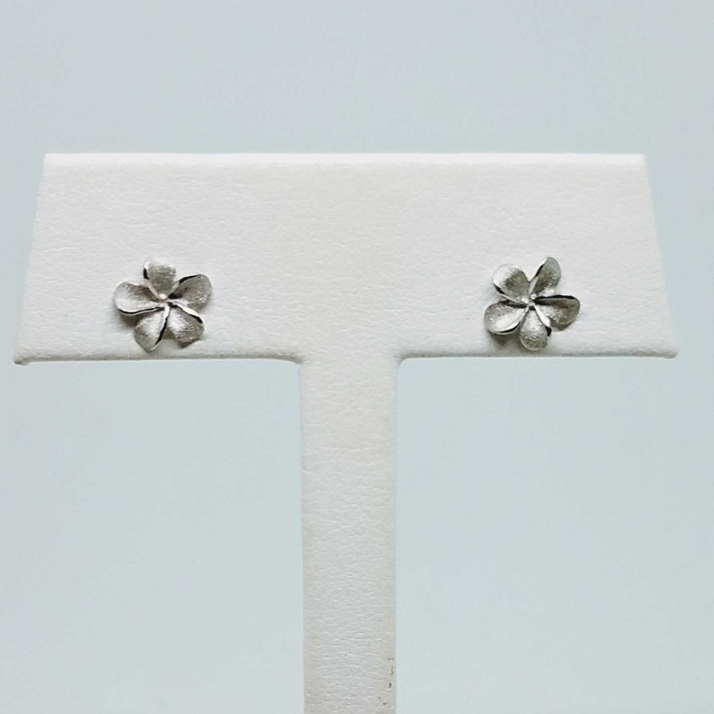 White Gold Plumeria Stud Earrings