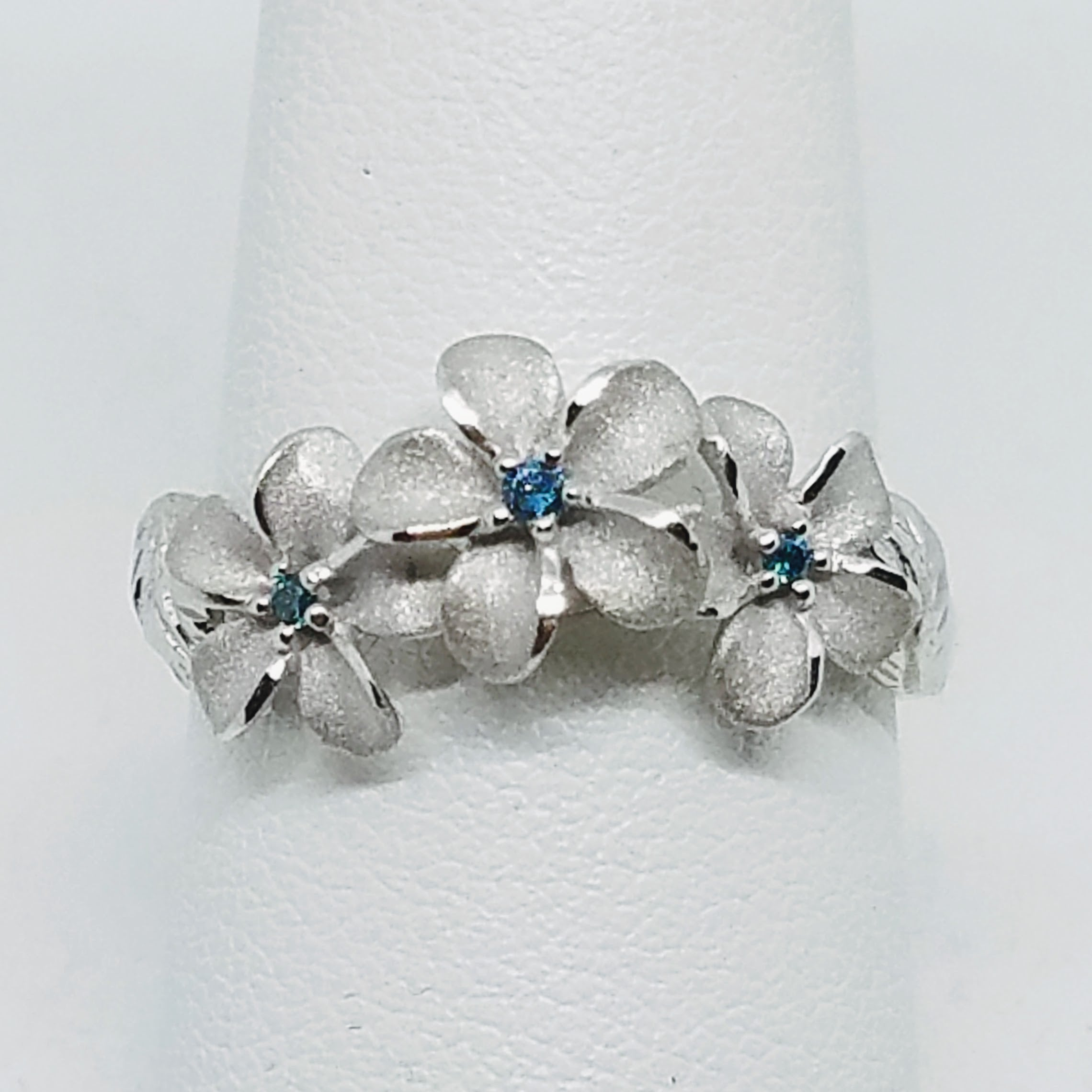 White Gold Plumeria with Leaves Ring
