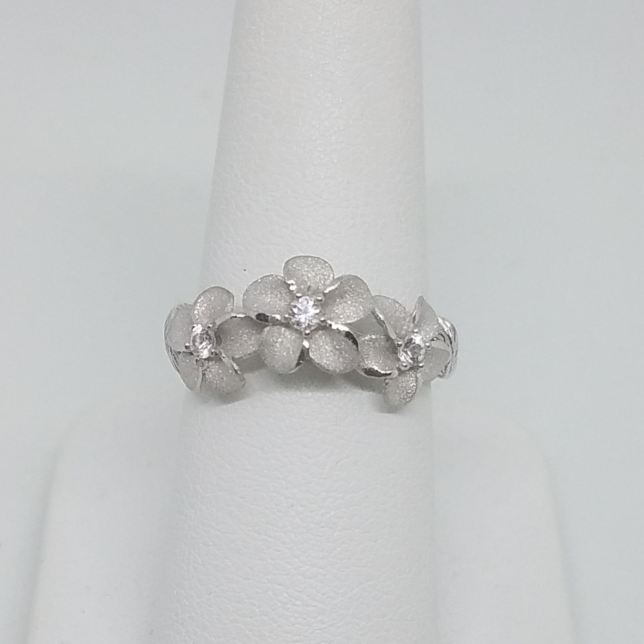 Silver Plumeria with Leaves Ring