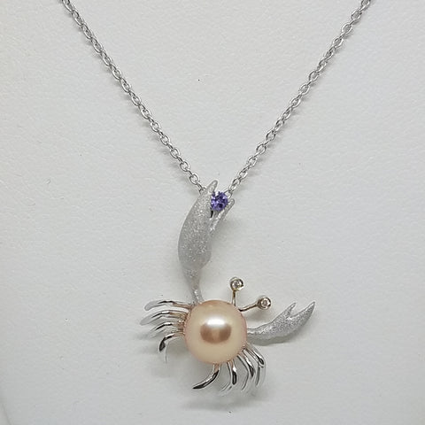 Crab Pendant with Freshwater Pearl