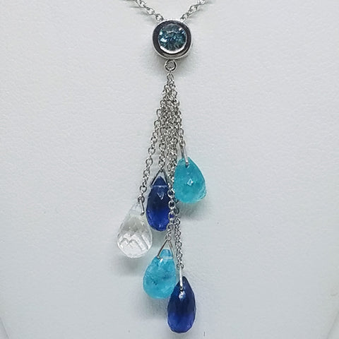 Kyanite, Apatite, Blue Zircon and Quartz Necklace