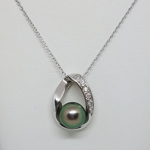 White Gold Tahitian Pearl with Diamonds Pendant