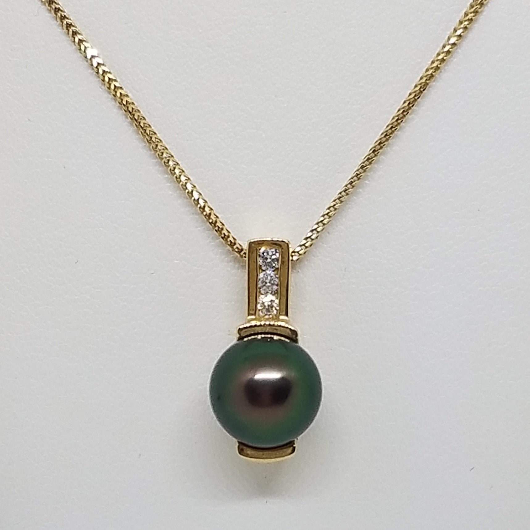 Yellow Gold Tahitian Pearl Pendant with Diamonds